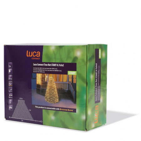 Luca Connect XP Kerstboom Net 0,7x3x2 clear 192 lampjes